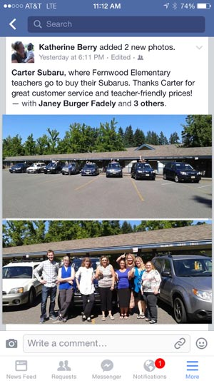 Carter Subaru, where Fernwood Elementary teachers go to buy their Subarus. Thanks Carter for great Customer service and teacher-friendly prices!